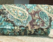 Coupon Holder Organizer Quilted Fabric Green and Brown Paisley