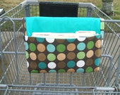 Coupon Organizer Holder Teal and Brown Dots Duck Cotton - Teal Lining