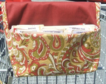 Coupon Organizer Holder Purse Organizer Paisley Olive and Rust Fabric