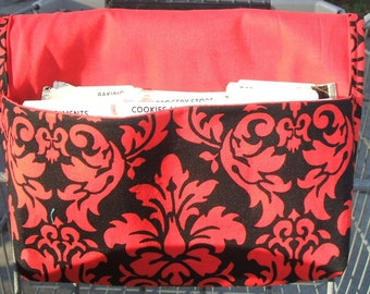 Coupon Organizer Holder Red and Black Damask Fabric Red Lining