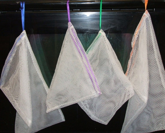 Set of 4 Produce Bags Poly Mesh Asst Ribbon Colors Super Strong