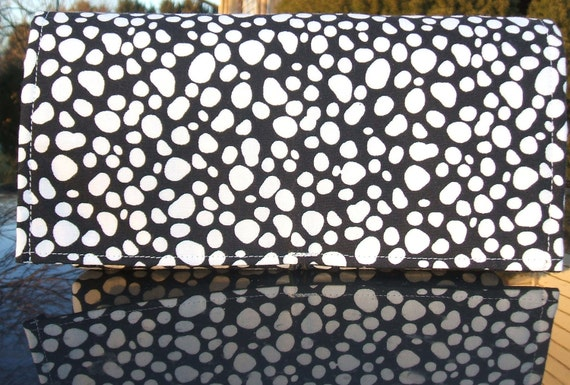 Coupon Organizer Wallet White Pebbled on Black Fabric