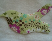 NO SEW Iron On Bird Applique With Green Floral Print