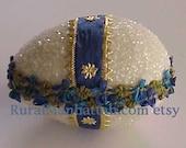 Easter Egg Candy Box Egg Candy Container Bonbon Treat Box Sugar Egg Decoration Flower Trim Royal Blue White