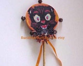 Halloween Noisemaker Rattle Black Cat Kitten Bow Tie Rusty Jingle Bells Orange Ribbon Orange Black Polka Dot Vintage Inspired Wand