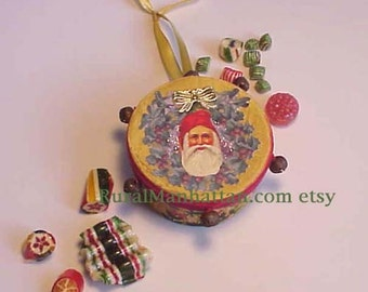 Santa Candy Container Ornament Victorian Feather Tree Rusty Jingle Bells Christmas Tree Candy Box Bonbon Father Christmas Ornie Ribbon