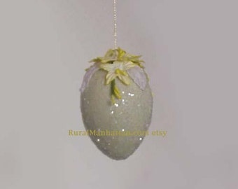 Easter Egg Ornament Ivory Ornie Feather Tree Egg Tree Paper Flowers  Vintage Millinery Leaves Decoration Spring Yellow White