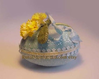 Easter Egg Candy Box Candy Container Sugar Egg Vintage Cowslip Millinery Flowers Bonbon Ribbon Glitter Treat Box Primrose FlowerTrim