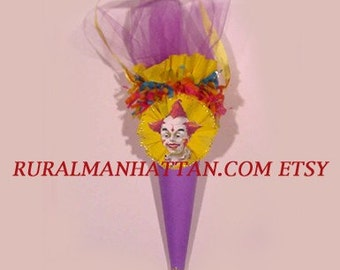 Clown Candy Cone Bonbon Candy Container Clown Victorian Vintage Old Fashioned Inspired