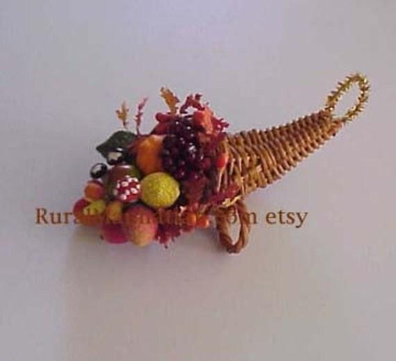 Cornucopia Ornie II  Horn of Plenty Ornament Feather Tree 1940 Vintage Mushrooms Millinery Fruit Mini Leaves