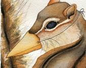 Chipmunk bird beak mask disguise anthropomorphic watercolor print
