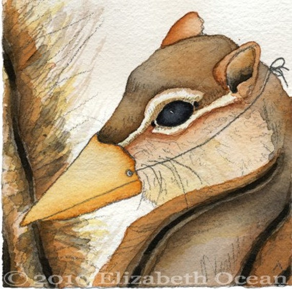 Chipmunk bird beak mask disguise anthropomorphic watercolor print