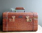 Reserved....Vintage Alligator Embossed Leather Train Case