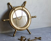 Nautical Brass Mirror and Hooks
