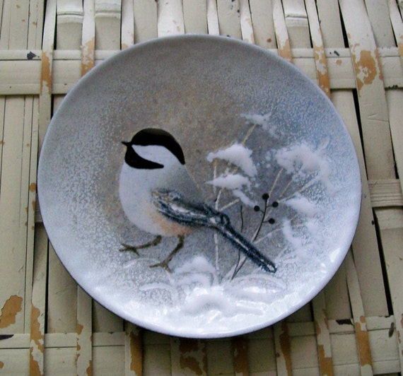 Vintage Norman Brumm Enamel On Copper Chickadee Plate