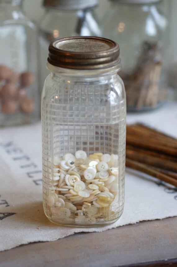Kerr Canning Jar with Grid Design