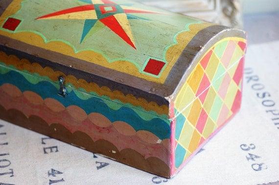 Painted Folk Art Box Geometric Designs 1940s