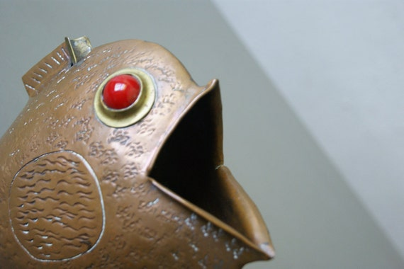 Mid Century Fish Ashtray Made of Copper with Red Glass Marbles for Eyes