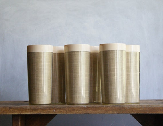 Thermal Tumblers with Woven Natural Raffia