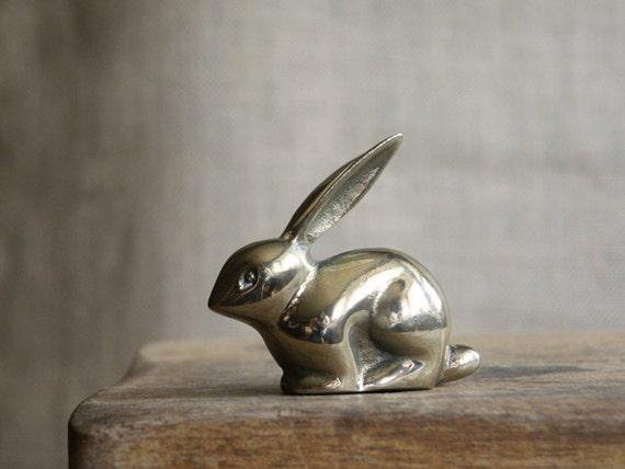 Brass Rabbit Figurine by Enesco