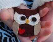 Owl Love you Forever felt hair clip or brooch