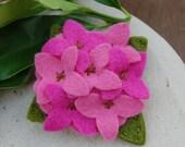 Pretty in Pink Hydrangea felt brooch