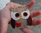 Owl Love you Forever felt brooch