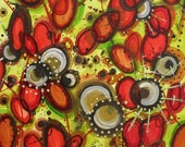 Cosmic Plasmic, acrylic and ink painting on paper, blood cells, cosmic orbs, red, chartreuse