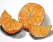 Juicy Clementine, original watercolor painting