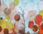 Waiting for Autumnal Winds: Framed Art, Original Encaustic painting