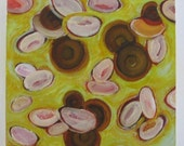 Floating Orbs, original oil painting, yellow, butterscotch drops, candy image, blood cells