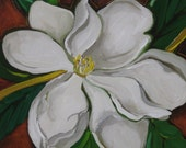 Magnolia oil painting: Beauty, southern flower, floral painting