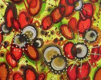 Cosmic Plasmic, acrylic and ink painting on paper, blood cells, 40% off coupon code: GREENGOLD