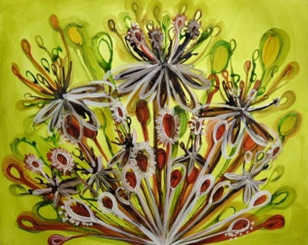 Queen Anne's Crowns, original acrylic painting, seed pods, floral bouquets