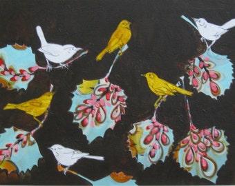 Bird Painting, bird art, acrylic painting/collage on paper