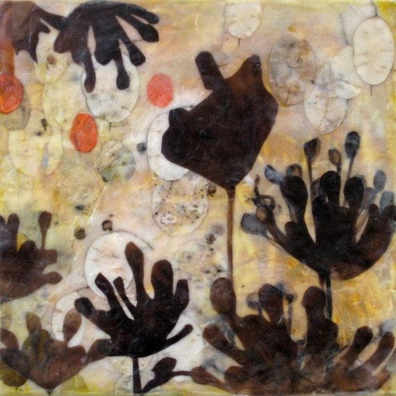 Summer Silhouettes, encaustic on wood panel