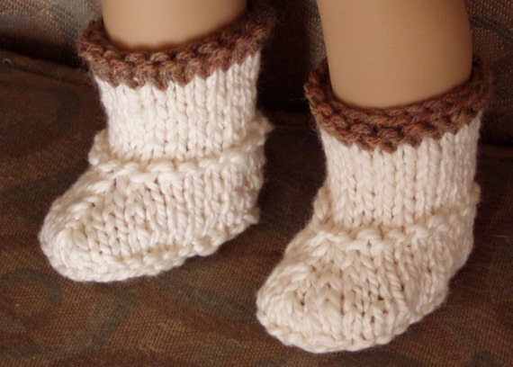 Knit Boots for 18 Inch Doll - Off-White