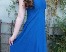 Vintage Electric Blue Cocktail Dress. Open Back. Metallic blue. New Wave 70's Dress
