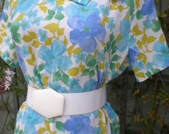 Vintage Spring Floral Day Dress Mini Dolly Dress Size M/L