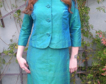 Vintage 50's Green Blue Pin up Cocktail Party Dress. MAD MEN .Fitted. Marylin Monroe