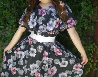 Vintage Black Dress. Sheer Floral Day Dress 70's 80's