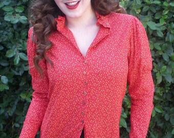 Ruby Red Puff Sleeve Shirt. calico Prairie Shirt, 60's / 70's