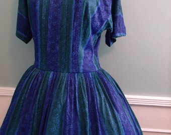 Vintage 1950's 60's Blue Organza Party Dress. Brooch .Cocktail Dress Full Circle Skirt Mad Men