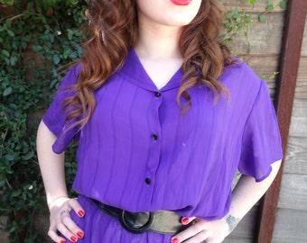 70's Deep Purple Secretary Day Dress. Vibrant Bold Purple. XL. Sheer, Holiday