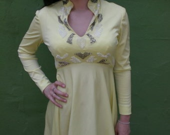 """Vintage 60's Mad Men Dress .Couture Dress. """"Felix Arbeo"""" Yellow Beaded Evening Cocktail Dress"""