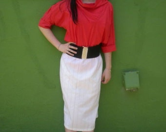 Vintage 80's Red and White Pin Stripe Secretary Skirt