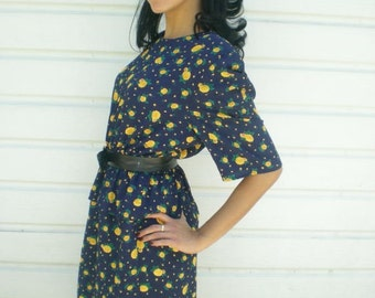 Vintage Dress 70's 80's Secretary Day Dress. Navy Blue. Yellow roses.