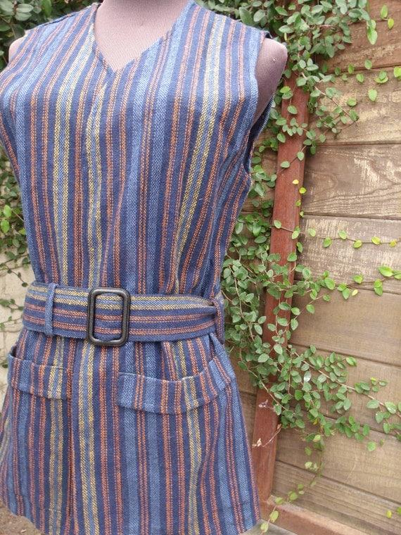 Vintage 60's Long Belted Vest. Poncho Style Hipster Vest