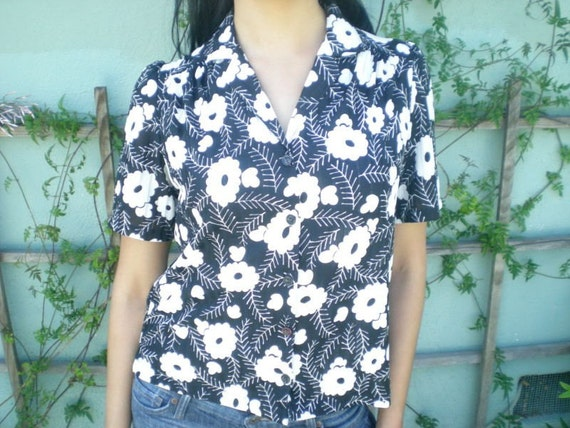 Vintage 70's Black and White Floral Button Down Shirt