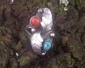 RESERVED--- Silver Native American Turquoise and Coral Ring